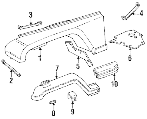 Fender & Components for 1993 Jeep Wrangler Parts