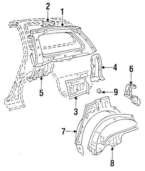 Genuine OEM INNER STRUCTURE Parts for 1996 Toyota Corolla