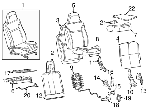 OEM FRONT SEAT COMPONENTS for 2004 Chevrolet Colorado