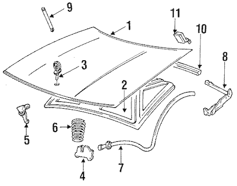 HOOD & COMPONENTS for 1996 Buick Park Avenue (Ultra)