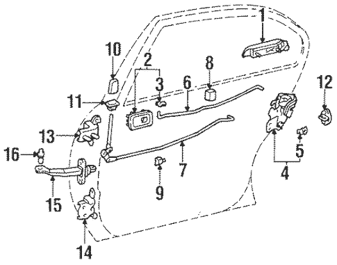 Genuine OEM Lock & Hardware Parts for 1995 Toyota Tercel