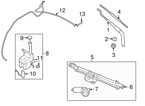 Wiper & Washer Components for 2006 Ford Mustang