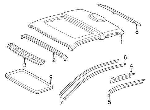 Genuine OEM ROOF & COMPONENTS Parts for 1995 Toyota Tacoma