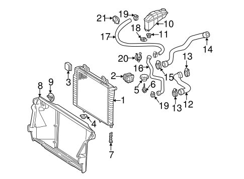 Radiator & Components for 1996 Mercedes-Benz E 300