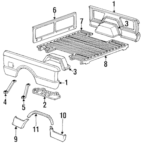 OEM PICK UP BOX COMPONENTS for 1992 GMC Sonoma