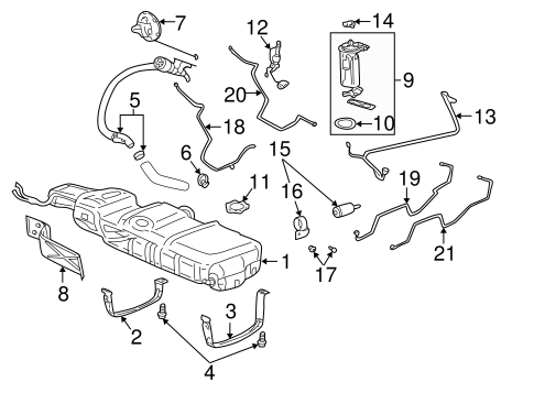 FUEL SYSTEM COMPONENTS for 2001 Pontiac Aztek