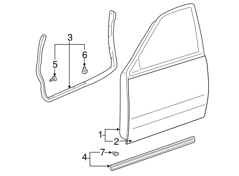 Genuine OEM DOOR & COMPONENTS Parts for 2005 Toyota