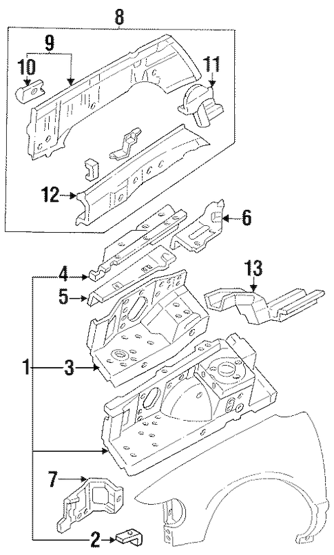 Structural Components & Rails for 1995 Mercury Villager