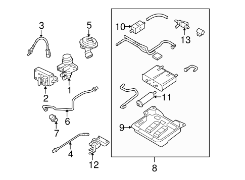 OEM 2011 Ford Crown Victoria Emission Components Parts