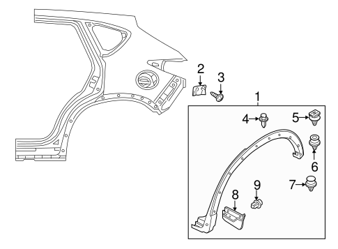 Wheel Opening Molding Retainer Clip for 2015 Mazda CX-5