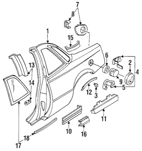 OEM 1990 Buick Regal Quarter Panel & Components Parts