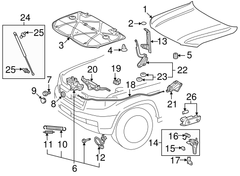 HOOD & COMPONENTS for 2008 Toyota Land Cruiser