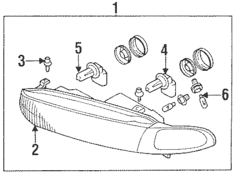 Headlamp Components for 1996 Mitsubishi Galant