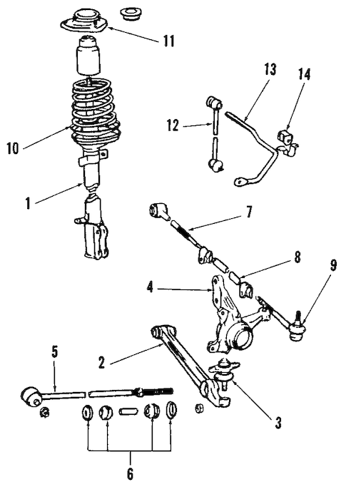 Genuine OEM Rear Suspension Parts for 1988 Toyota MR2