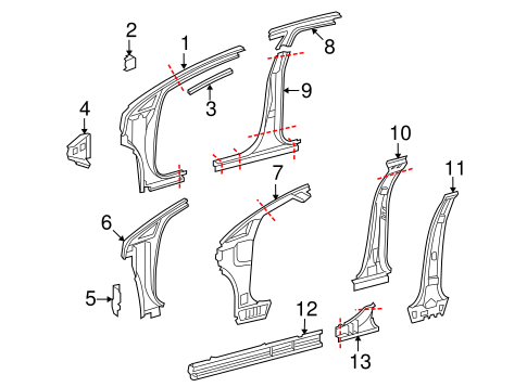 Genuine OEM Hinge Pillar Parts for 2012 Toyota Venza LE