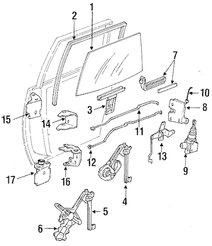 OEM 1986 Oldsmobile Cutlass Ciera Door Parts