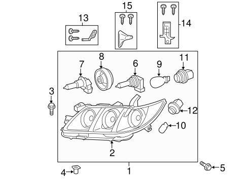 Genuine OEM Headlamp Components Parts for 2007 Toyota