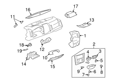 OEM 2005 Cadillac SRX Instrument Panel Components Parts