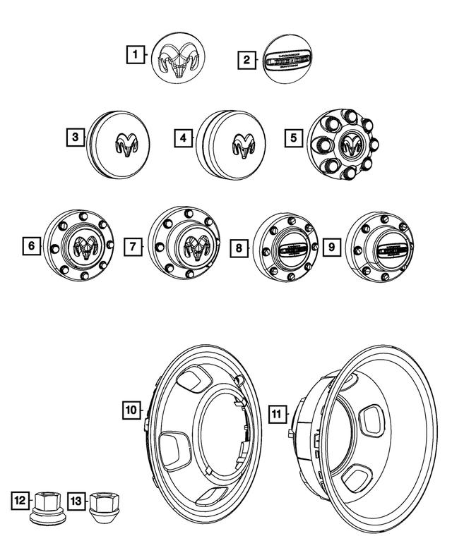2011-2018 Ram 3500 Wheel Center Cap, Rear 68081015AC
