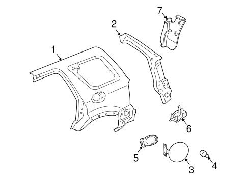 QUARTER PANEL & COMPONENTS for 2007 Ford Escape