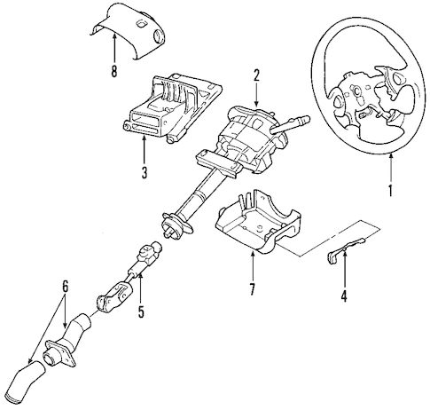 STEERING COLUMN for 2004 Pontiac Aztek