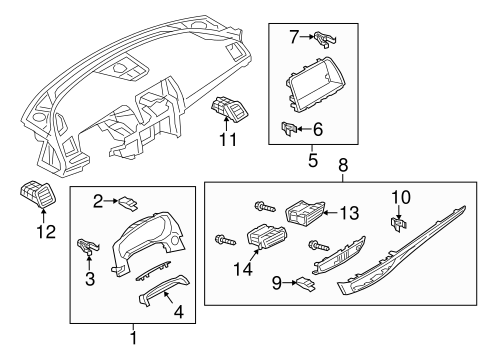 Instrument Panel Components for 2015 Mazda 6