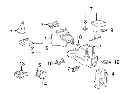 Genuine OEM Console Parts for 2004 Toyota RAV4 Base