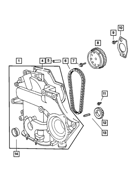 Timing Chain and Cover for 2004 Dodge Grand Caravan