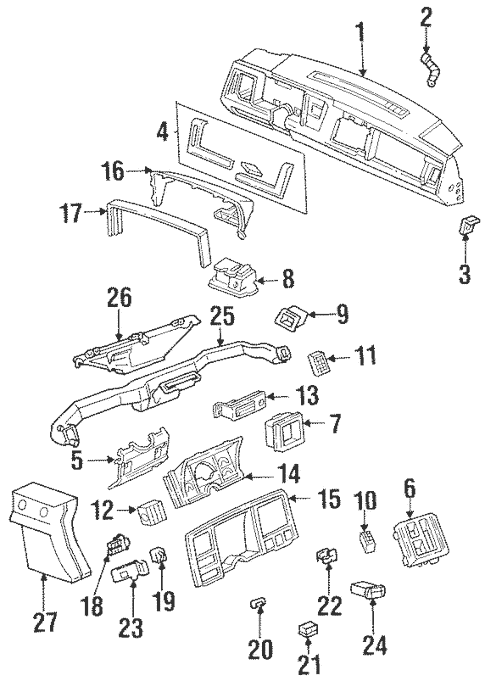 Instrument Panel Components for 1990 GMC C1500 Pickup