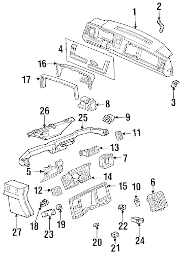 INSTRUMENT PANEL COMPONENTS for 1988 Chevrolet K1500