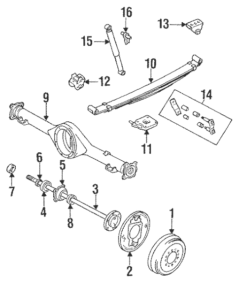 Genuine OEM Rear Suspension Parts for 1994 Toyota Pickup