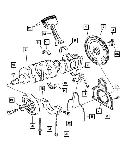 Crankshaft, Piston and Torque Converter for 2004 Dodge