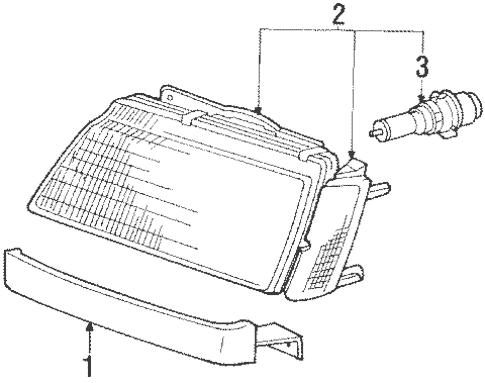 Headlamp Components for 1988 Mitsubishi Mirage