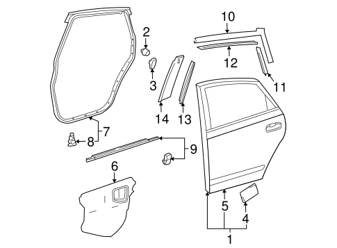 Genuine OEM Door & Components Parts for 2008 Toyota Prius