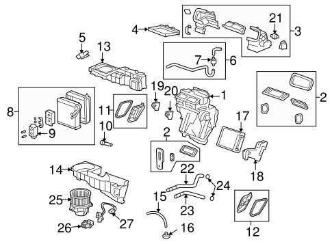 Evaporator & Heater Components for 2007 Saturn Outlook