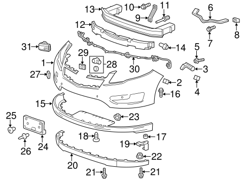 2011 2012 2013 2014 2015 Chevy Volt Front Bumper Assembly