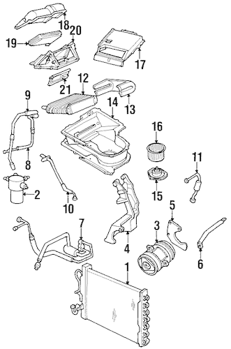 HEATER COMPONENTS for 1996 Oldsmobile Silhouette