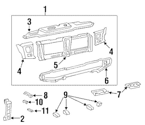OEM RADIATOR SUPPORT for 1989 Chevrolet P30