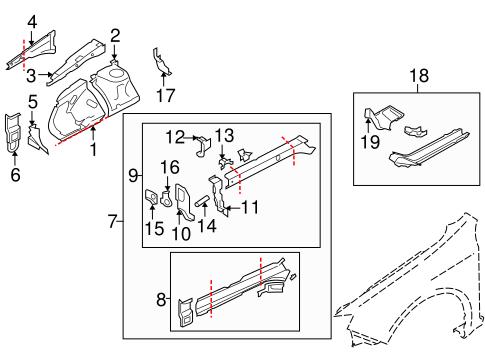 Structural Components & Rails for 2010 Subaru Impreza