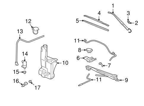 Wiper & Washer Components for 2003 Cadillac Escalade