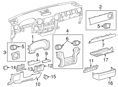 Instrument Panel Components for 2018 Toyota Tundra