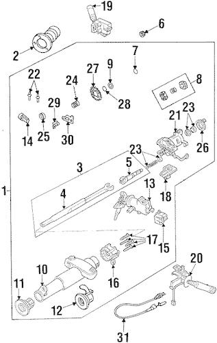OEM 1996 Pontiac Grand Am Steering Column Assembly Parts