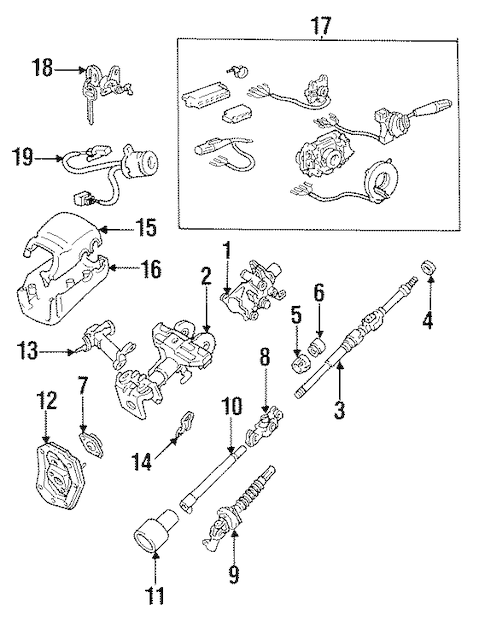 Genuine OEM Steering Column Assembly Parts for 1994 Toyota