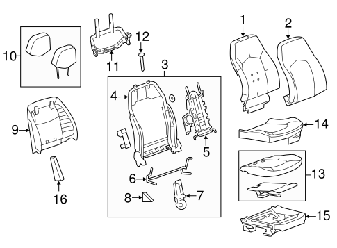 OEM PASSENGER SEAT COMPONENTS for 2013 Cadillac CTS