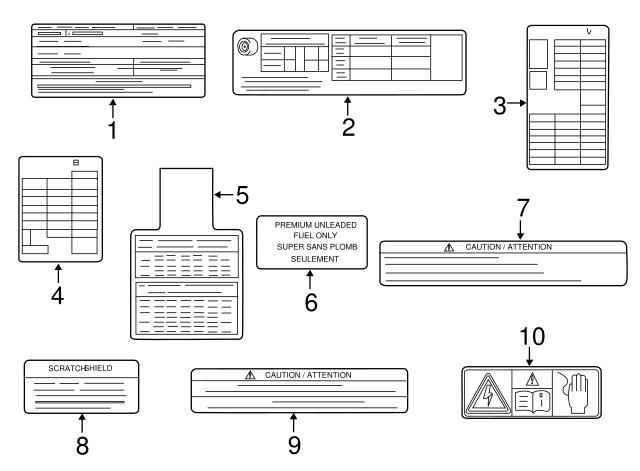 2017-2020 Infiniti Q60 Fuse Box Label 24313-5CA0A