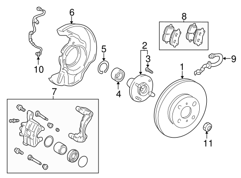 Genuine OEM FRONT BRAKES Parts for 2005 Toyota Corolla LE