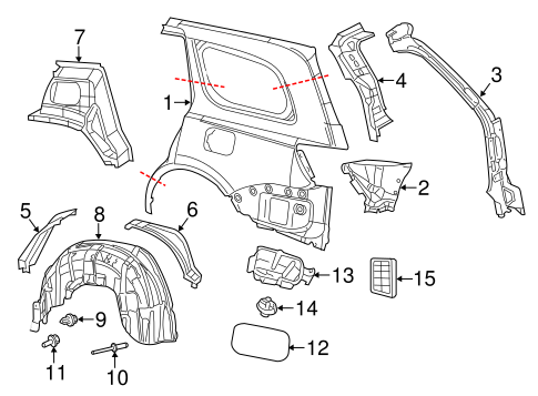 QUARTER PANEL & COMPONENTS for 2012 Jeep Grand Cherokee