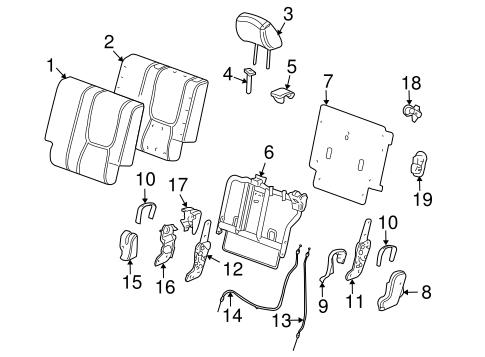 OEM 2009 Pontiac Torrent Rear Seat Components Parts