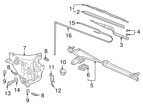 WIPER & WASHER COMPONENTS for 2002 Pontiac Aztek