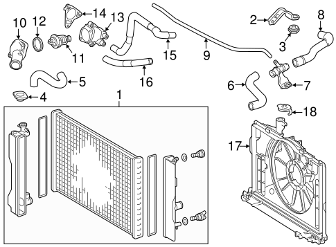 Genuine OEM Radiator & Components Parts for 2015 Toyota